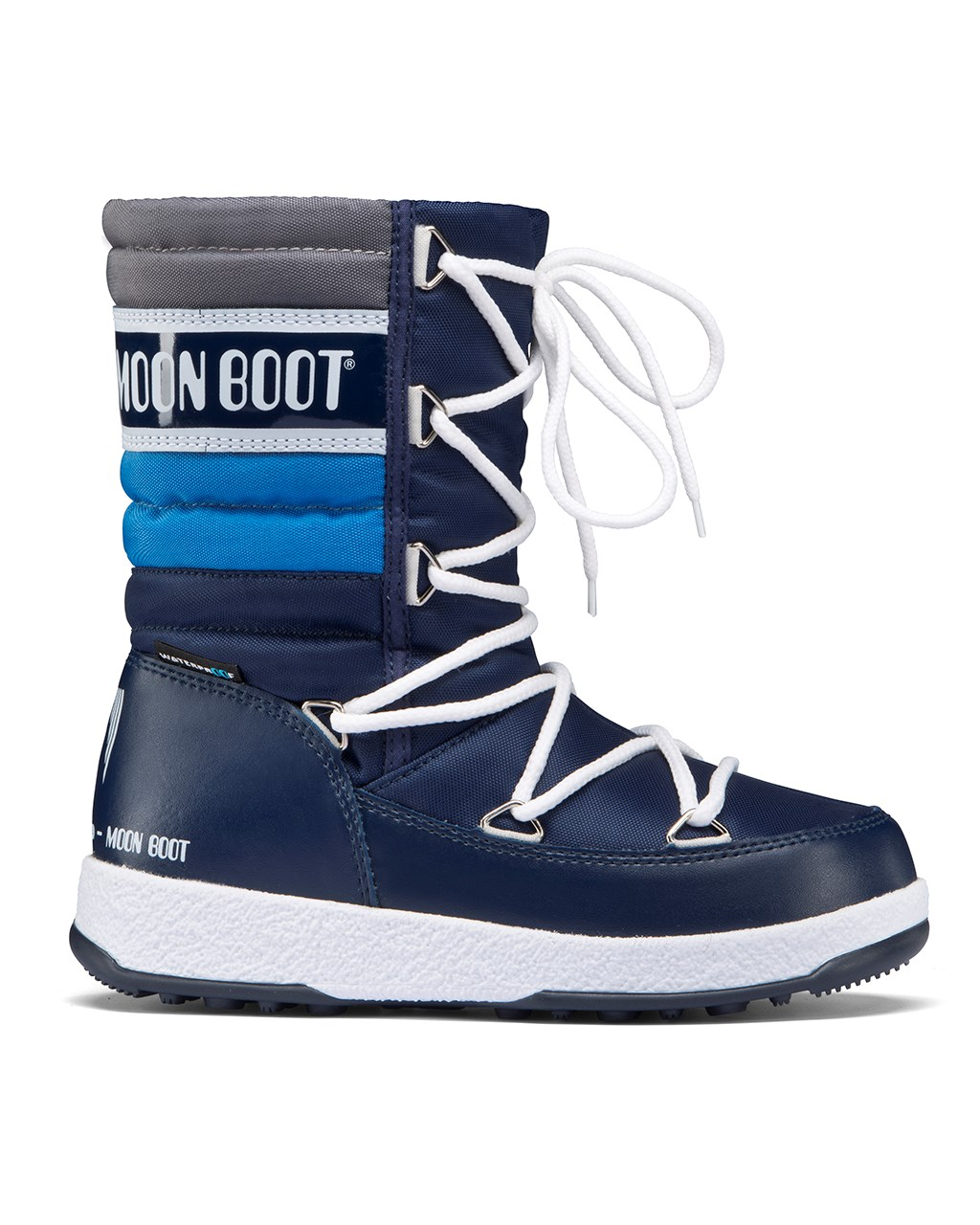 74f1277c844 Moon Boot. WE Quilted WP JR Navy/Royal/Silver