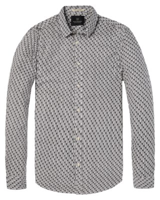 Shirt With All-Over Printed Palm Pattern M