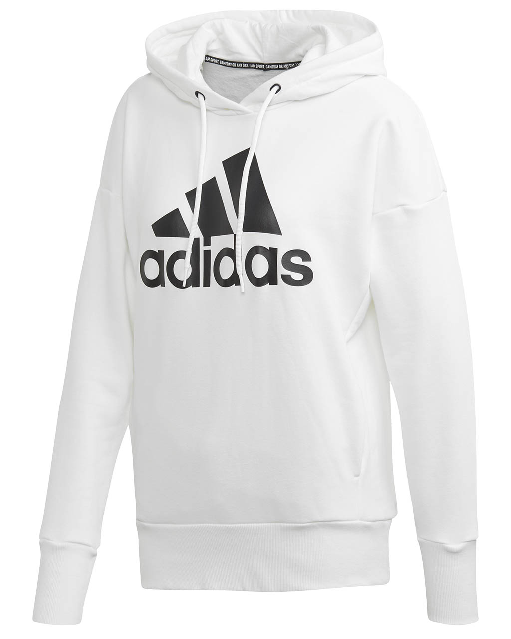 Badge Of Sport Long Hoodie W WhiteBlack