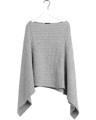 Lambswool Cable Poncho W