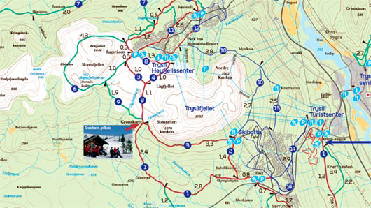 Map for Cross-country Skiing Trail in Trysil