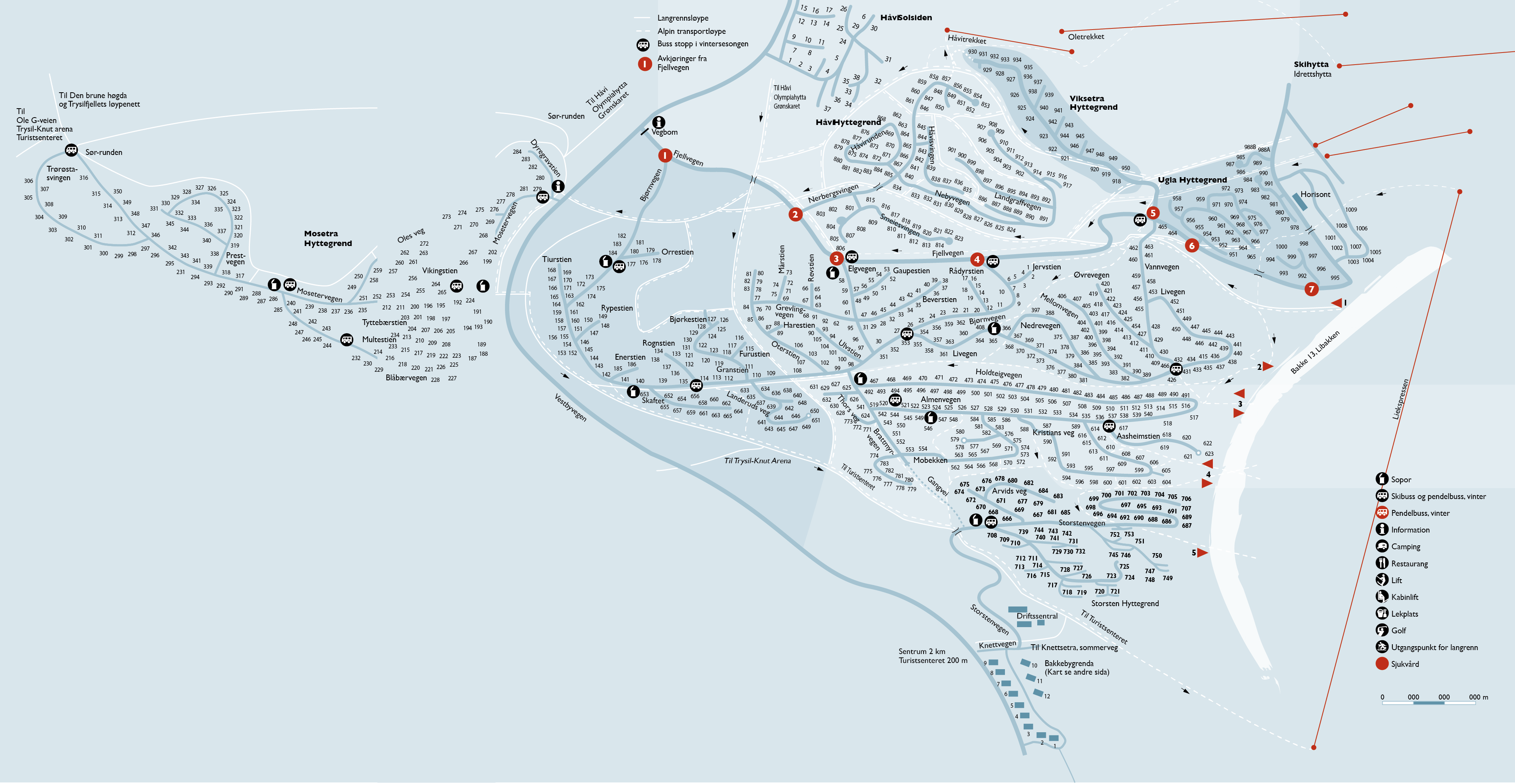 Karta Syd Norge.Trysilfjellet Hytteomrade